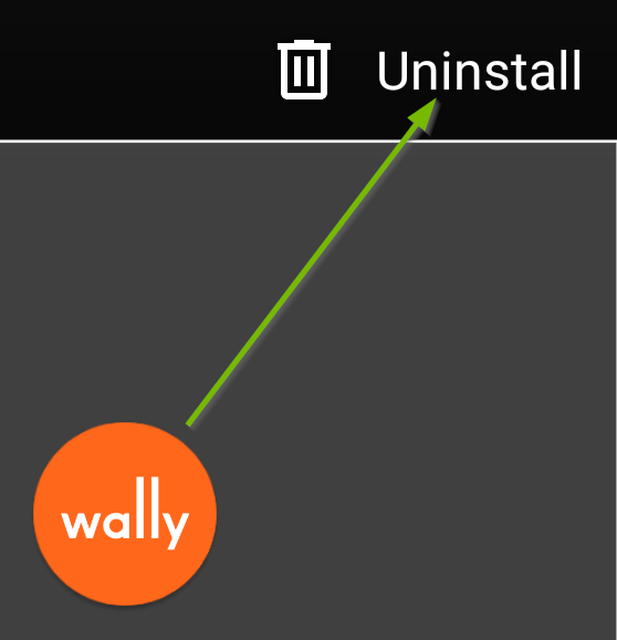 Wally app with arrow pointing to uninstall