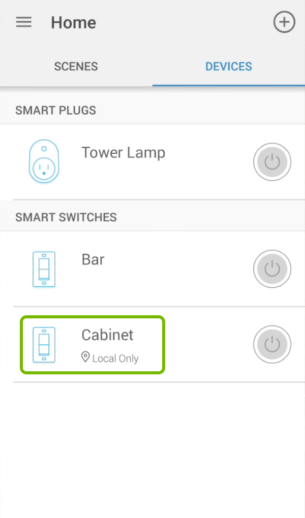 Smart switch name highlighted in devices list of Kasa app.