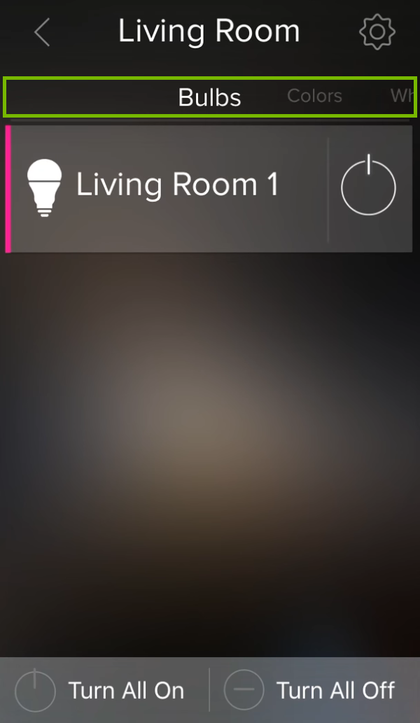 Tab area highlighted above group list in ilumi app.