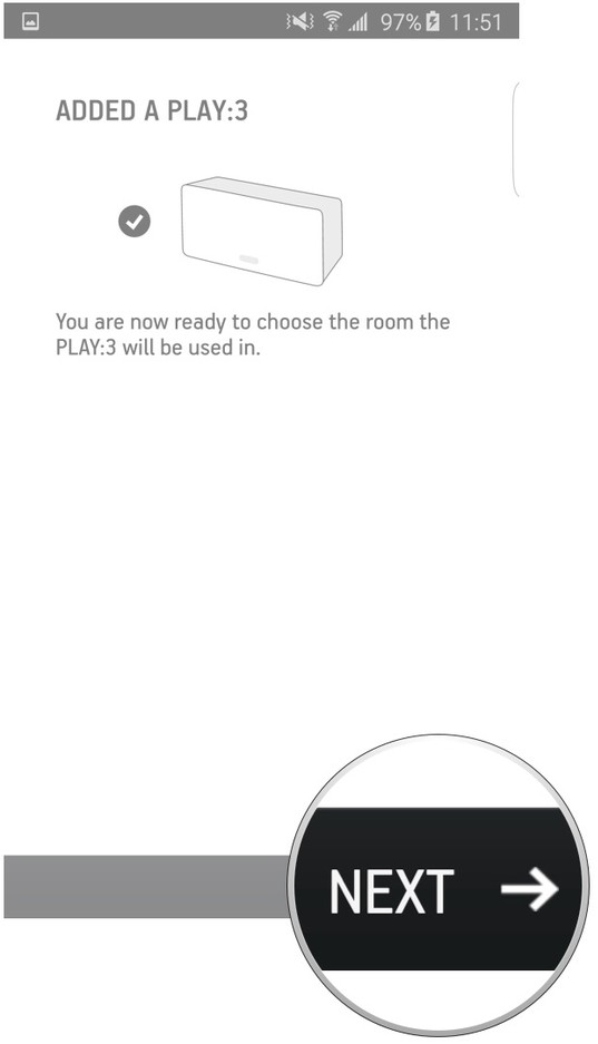 Sonos app highlighting the next button after a player has connected.