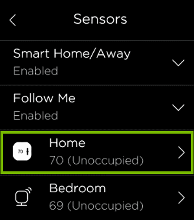 Thermostat sensor highlighted in ecobee settings.
