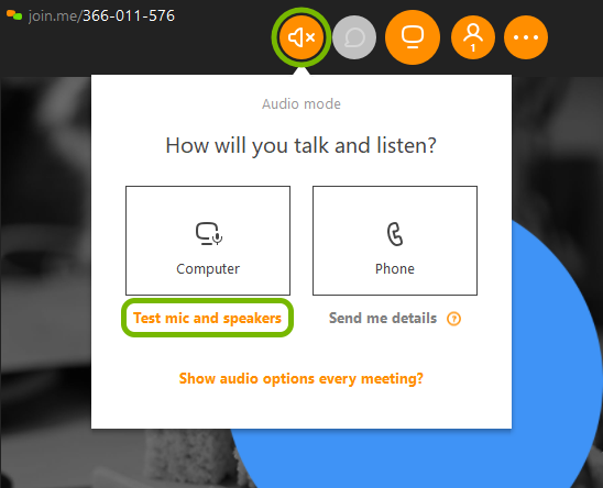 Audio icon, and Test mic and speakers option highlighted in join.me meeting.