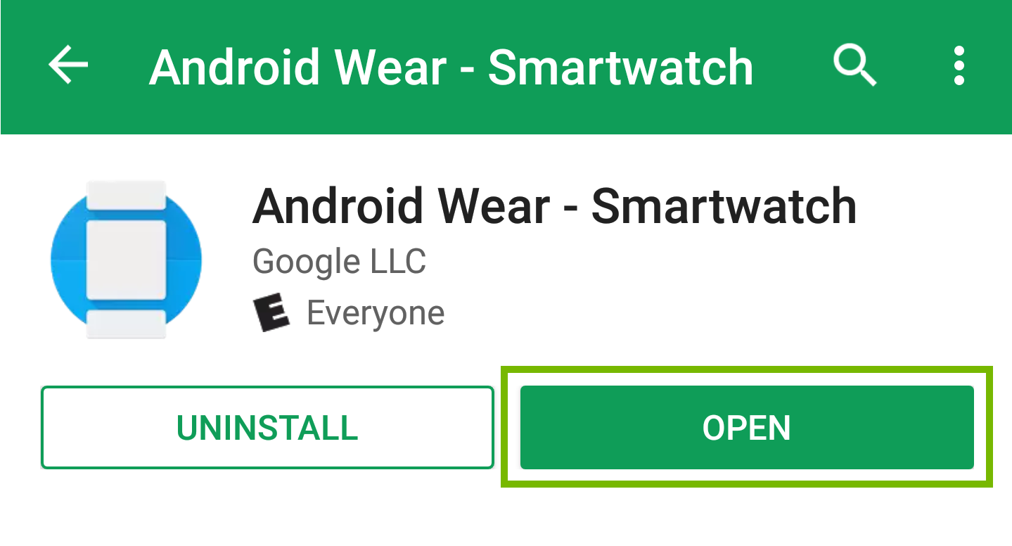android wear with open highlighted