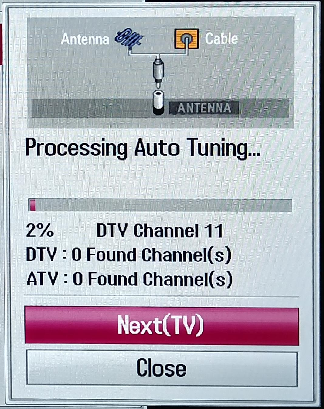 Auto tuning progress dialog.