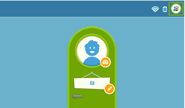 LeapFrog Epic's home screen with the parent and child icon in the upper-right highlighted.
