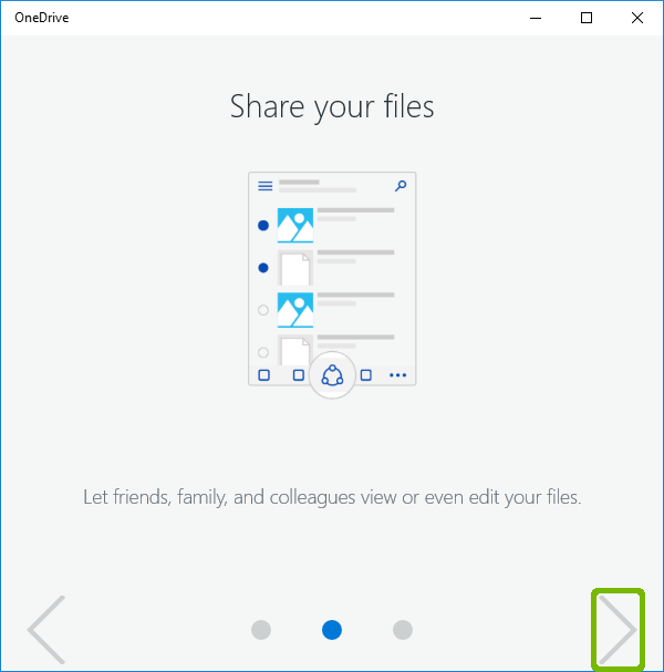 OneDrive Tour with next arrow highlighted.