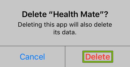 Delete option highlighted on app uninstall confirmation prompt.