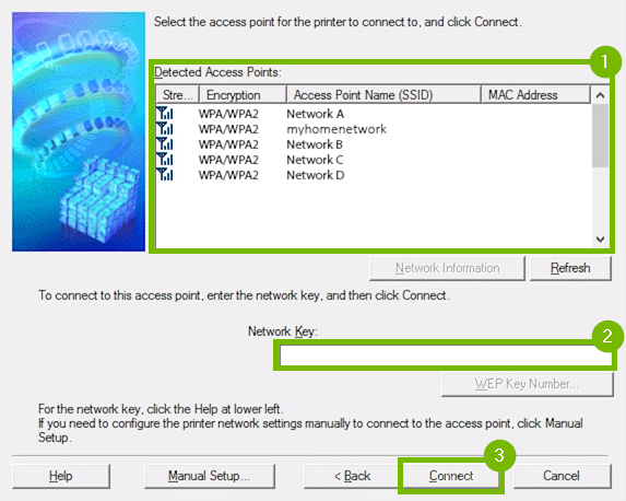 Network setup page with the List of networks, security key, and connect button highlighted