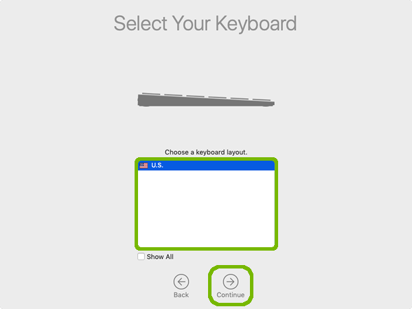 Keyboard layout selection with continue highlighted.