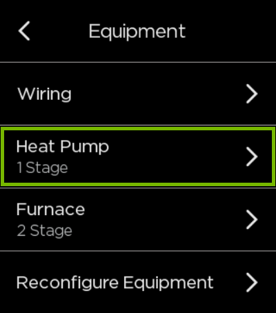 Heat Pump option highlighted in ecobee settings.