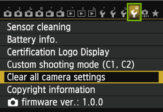 menu with the 4th wrench highlighted