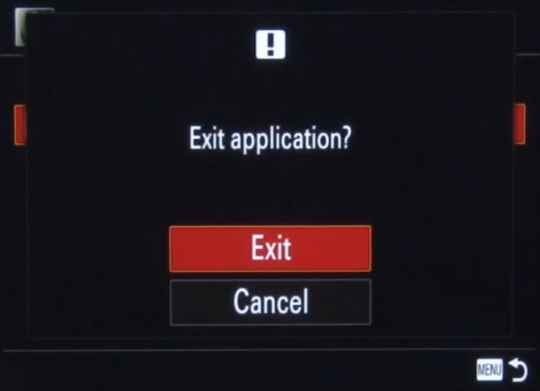Exit confirmation on camera screen