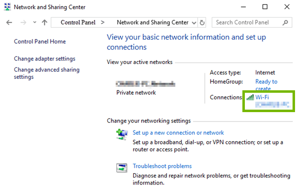 The Wi-Fi connection is highlighted in Network and Sharing Center.