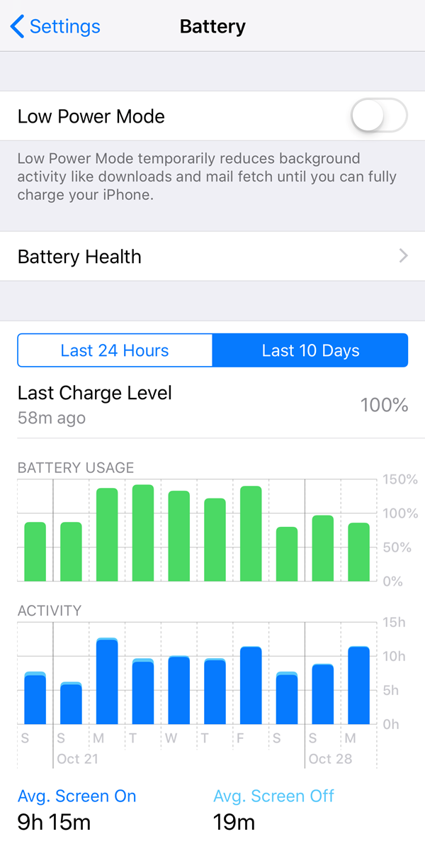 iOS battery menu.