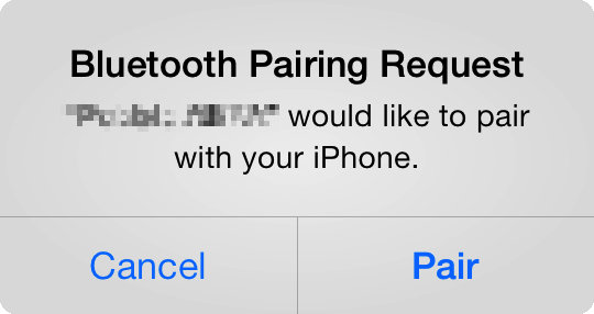 Bluetooth pairing query on iOS