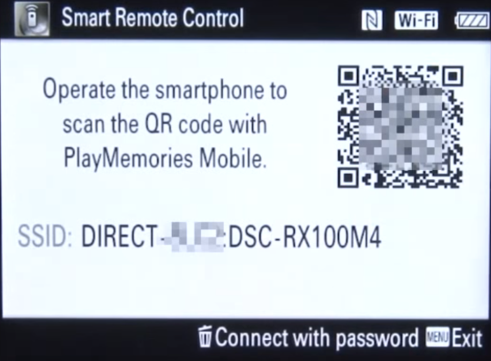Camera screen showing QR code.