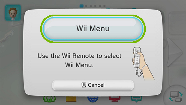 Wii menu prompt with Wii Menu button highlighted.