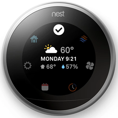 Nest thermostat displaying the quick view menu.
