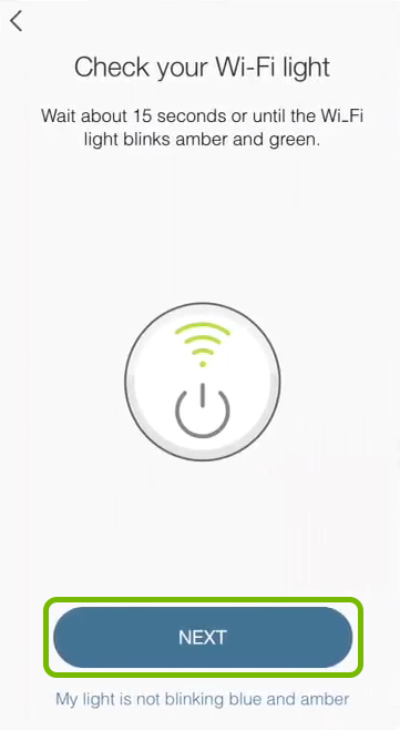 Next option highlighted on device connection screen in Kasa app.