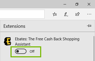 Edge extension menu with slider in off position highlighted. Screenshot