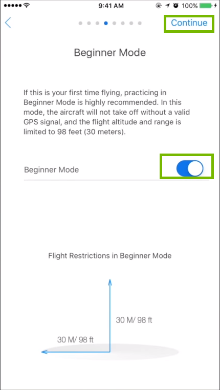 Beginner mode page with on off slider and continue highlighted. Screenshot