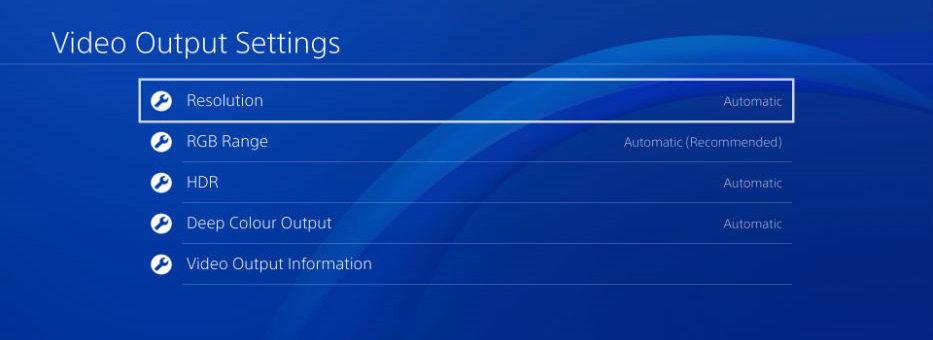 Video output settings. Screenshot.