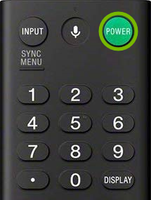 Power button highlighted on Sony TV remote control.