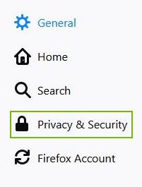 Privacy & Security highlighted