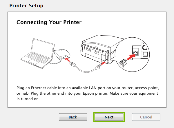Ethernet cable connection screen.