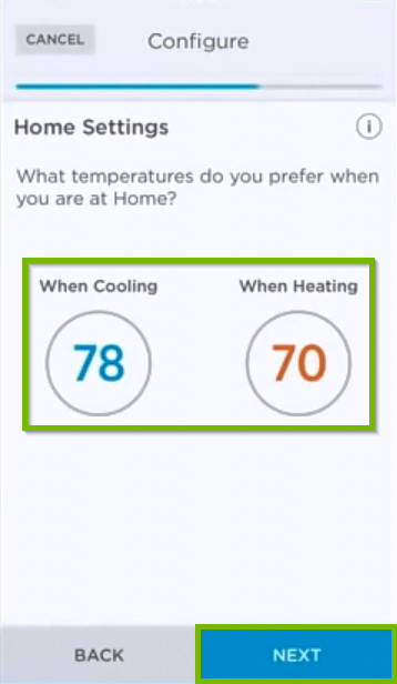 Temperature selection screen for Home settings.