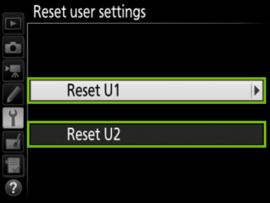 Reset user settings
