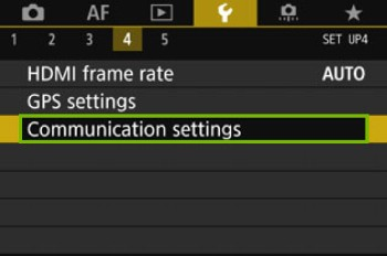 camera screen with communication settings highlighted