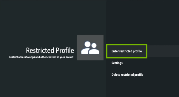 Enter restricted profile option highlighted In Restricted Profile settings.