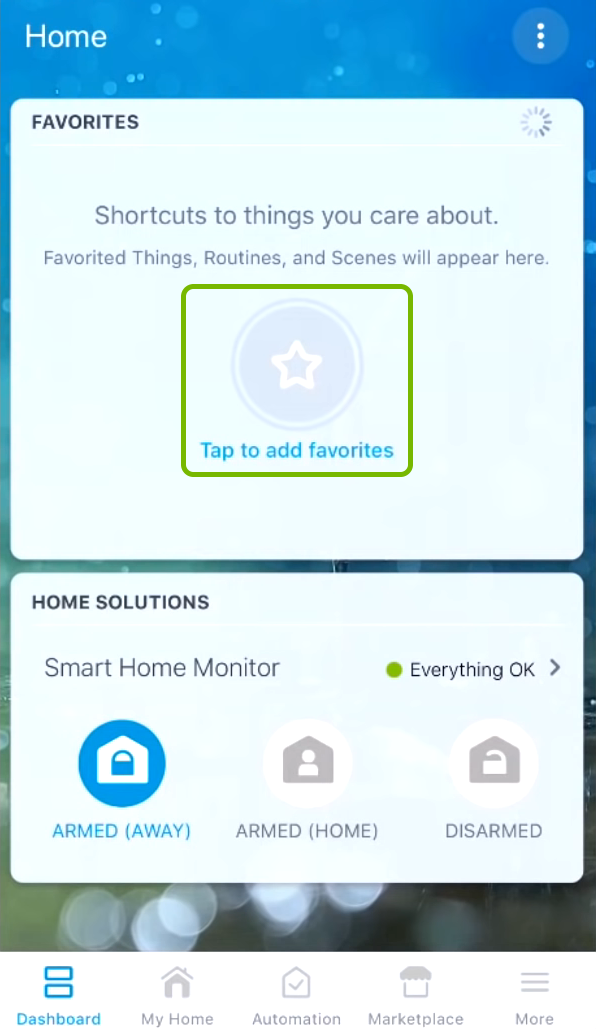 Tap to add favorites highlighted on Dashboard in SmartThings app.