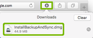 Safari Downloads with installer highlighted.