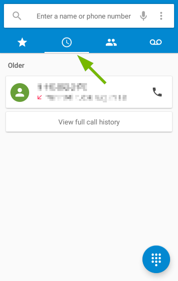 Call History tab pointed out in Android Phone app.