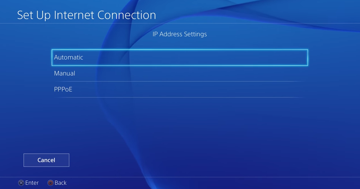 PS4 set up internet connection with automatic ip address settings selected