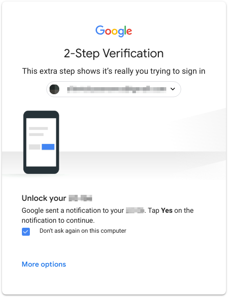 Google 2-Step Verification example.