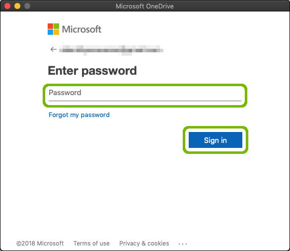 Password entry with Sign in highlighted.