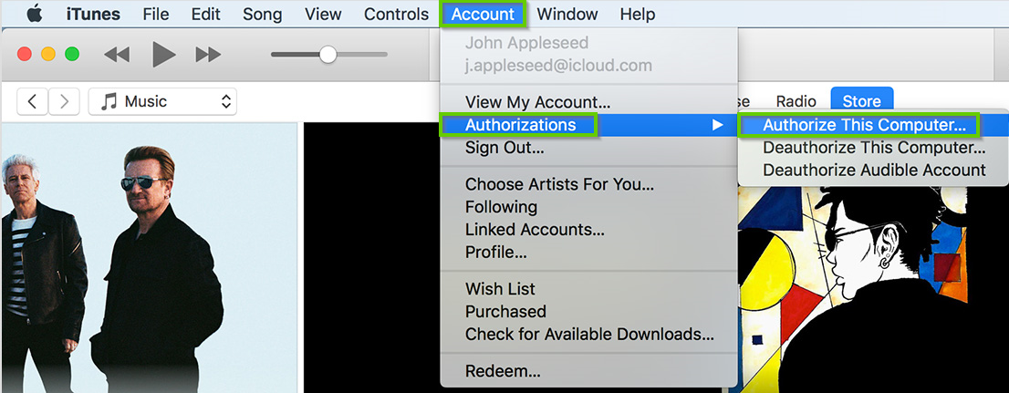 macOS version of iTunes showing how to authorize