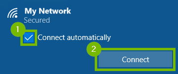 selected network listed with connect automatically box and the connect button highlighted