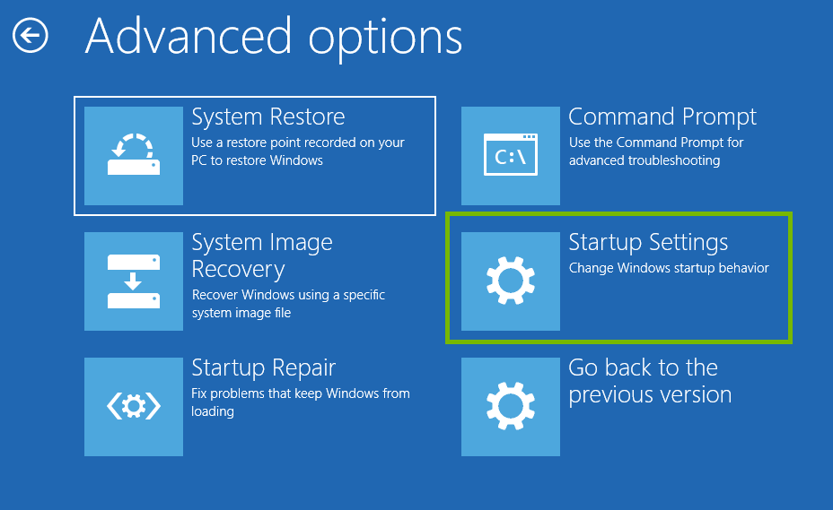screenshot showing startup settings highlighted
