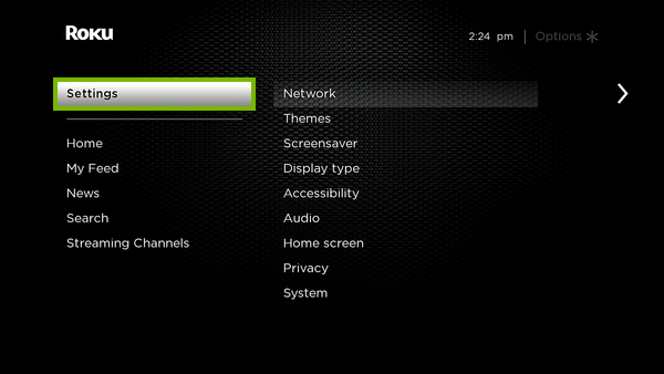 Settings option highlighted in Roku menu.