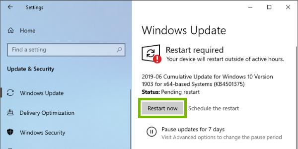 Restart Now