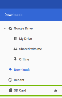 Files app SD Card highlighted.