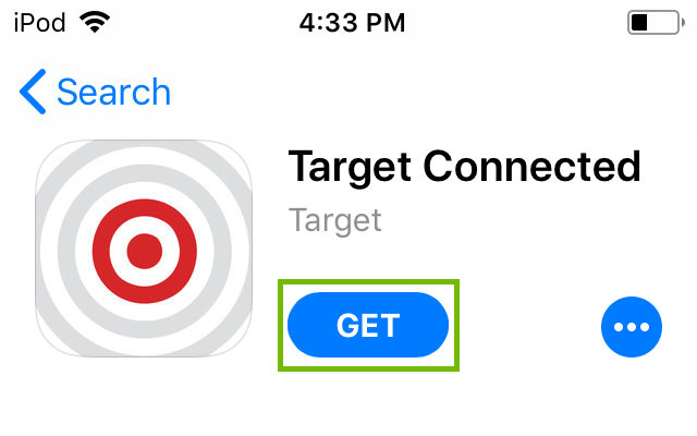 Target Connected App Store listing with Get highlighted.