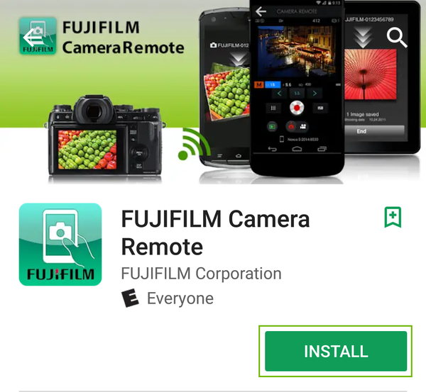 fujifilm camera remote app page with install highlighted.