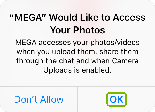 Mega Photos request with OK highlighted.