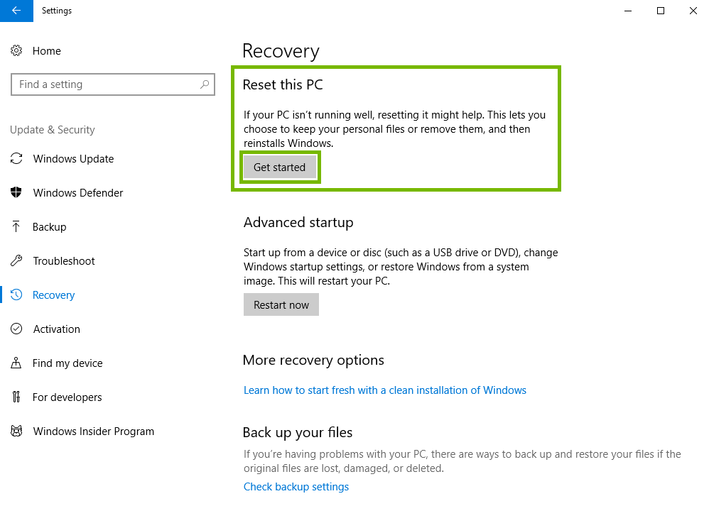 Recovery settings with reset this PC highlighted.