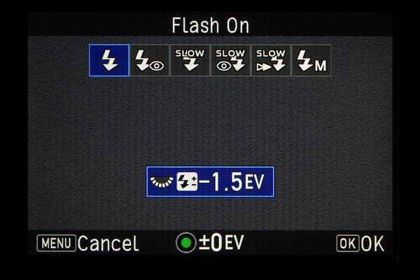 Digital camera flash turned on.